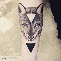 Artist : Valentin Hirsch #tattoo #fox #triangle #dotart #black #animal #forest #geometry #tattoos #lifestyle #tattooartist #picoftheday #dot #arm #studio #amazing #ink #inked #sorrymummytattoo #tattooed  #boy #boywithtattoo #dream #animals #wild #tattoos