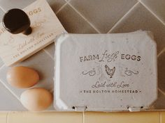 Custom Chicken Stamp Large Egg Carton Label by SubstationPaperie