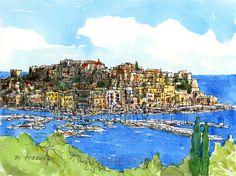 Art d'Italie de Pozzuoli impression d'une peinture aquarelle originale