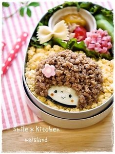 Cute Afro Hair Girl Kyaraben Bento Lunch (Soboro Minced Meat and Egg over Rice)