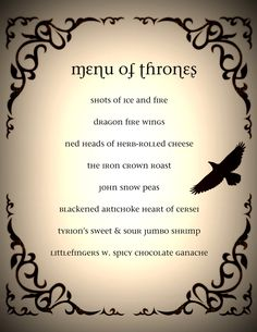 Game of Thrones Dinner Party Menu #GoT