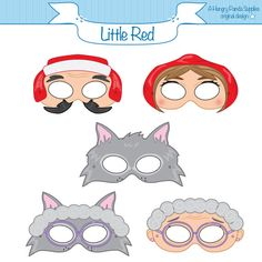 Little Red Riding Hood Printable Masks, Party Masks, Red riding hood costume, little red, wolf mask