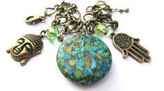 Buddha Bracelet Hamsa Hand Hand Of Fatima by WuzzysCreations, $20.00
