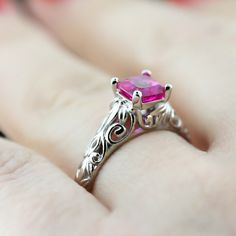 Tory Solitaire Engagement Ring - Pink Sapphire & Filigree