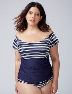 8dc46bf621c8c Off-the-Shoulder Swim Tankini Top with Built-In Bandeau Bra