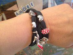 Valentines stretch lycra spandex bracelet with love charms. Smokey grey color.