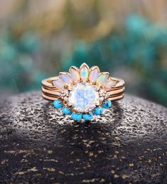 Art deco Moonstone engagement ring set Vintage Opal band rose gold Unique moissanite rings Bridal set Anniversary rings stacking rings Alexandrite Engagement Ring, Rose Gold Engagement Ring, Engagement Ring Settings, Turquoise Wedding Band, Opal Band, Moissanite Wedding Rings, Curved Wedding Band, Bridal Ring Sets, Anniversary Rings