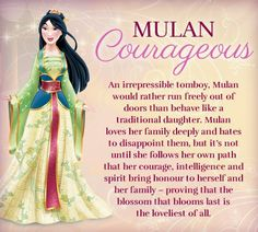 Mulan and her character traits: Courageous