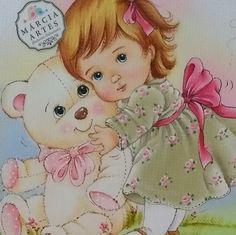 Pintura: Marcia Sueli Medeiros Arte Popular, Baby Birth, Vintage Ephemera, Fabric Painting, Baby Quilts, Little Girls, Mickey Mouse, Teddy Bear, Baby Shower