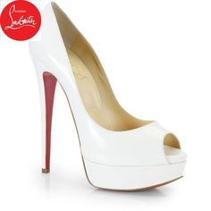 e99a99dcfbb5e0 Christian Louboutin Lady Peep Leather Pumps found on Polyvore featuring  polyvore