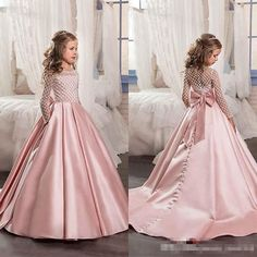 2019 New Blush Pink Flower Girl Dresses Satin kids evening gowns with long sleeves Beads Ball gown Girls Pageant Dresses Custom Girls Communion Dresses, Girls Pageant Dresses, Ebay Dresses, Gowns For Girls, Little Girl Dresses, Communion Shoes, Dresses Online, Dresses For Kids, Women's Dresses