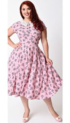 Hell Bunny Plus Size 1940s Style Pink Vintage Bicycle Penny Lover Swing Dress