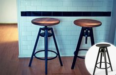 Industrial-inspired stools: upgrade an IKEA DALFRED stool by screwing a wood pine round to the current seat and stain it.