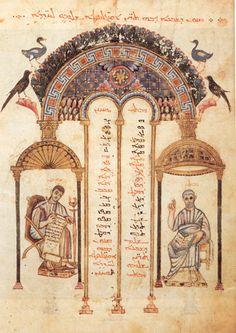 Manuscript illumination: Rabbula Gospel Miniature. Manuscript completed on February 6, 586, by the calligrapher Rabbula working in a monastary north of ...