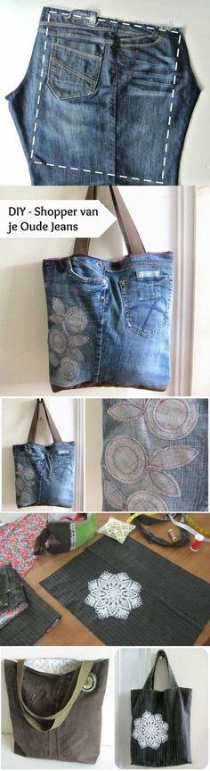 Leuke Jeans tas gehaakt met het mooie denim garen van