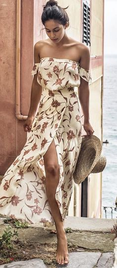 #fall #outfits  Beige Floral Off The Shoulder Dress