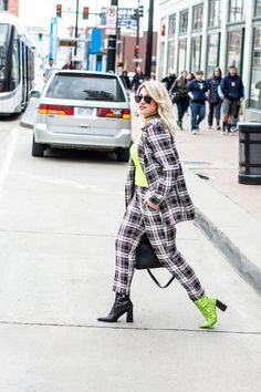 Going Neon in a Plaid Suit for KCFW. | Le Stylo Rouge