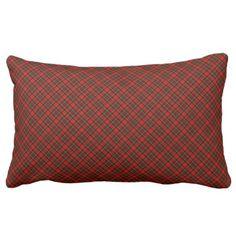 Christmas Throw Pillow-Plaid Lumbar Pillow - holidays diy custom design cyo holiday family