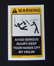 2PCS Danger Labels part for your old antique new or electric Violin Viola Case