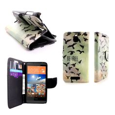 Magnetic Wallet Flip Case Free Bird Design Cover w/ Screen Protector + Clip Strap for HTC Desire 510 by CoverON®
