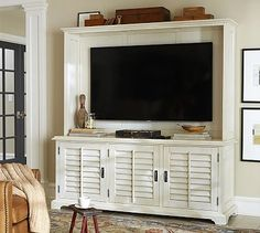 """2200 Almond white Holstead Shutter Large Media Console & Hutch #potterybarn 2,179   72.5"""" wide x 13.5"""" deep x 45"""" high; 78"""" diagonal opening"""