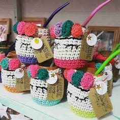 Crochet Kitchen, Crochet Home, Love Crochet, Crochet Jar Covers, Fabric Crafts, Diy Crafts, Mug Cozy, Crochet Cushions, Amigurumi Doll