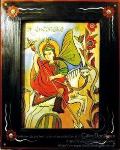 Sfântul Mare Mucenic Gheorghe icoană naivă pictată pe dosul sticlei în ulei pictură tradițională lucrare de artă religioasă icoană ortodoxă pe sticlă icoană Sfântul Mare Mucenic Gheorghe icoană  pictată  pe sticlă cu Sfântul Mare Mucenic Gheorghe
