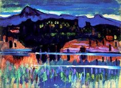 Wassily Kandinsky Murnau am Staffelsee I (1908) oil on paper laid on board, 33 x 44.5 cm. The Ashmolean Museum of Art and Archaeology, England