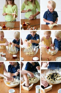 cooking lesson for kids: banana blueberry muffin