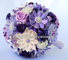 Fabric Wedding Bouquet Brooch bouquet 7 lilac purple dark от LIKKO