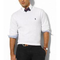 Ralph Lauren Classic Men Polo Crewneck - White Sale