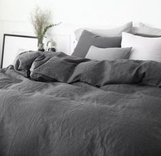 Ebony King Linen Duvet Cover