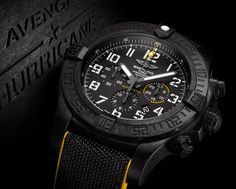 "Learn about the newly released Breitling Avenger Hurricane 12H. All-new Avenger with a 24-hour movement set in a hulking 50mm ""Breitlight"" polymer case..."