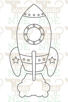 Digital Stamp  Space Rocket Spaceship  Printable Line by StudioNDE,