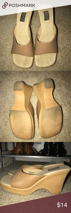 🌸 Tan Wedges 🌸 Cute tan wedges! Well worn, but still have a lot of life left in them. Very comfortable! Prima Shoes Wedges