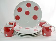 20% Off~Unusual Vintage Collectible Retro Polka Dot Cups & Plates Luncheon Sets Painters Palette Design~8/74K~MINT~Unused Found on Ruby Lane @Ruby Lane Vintage
