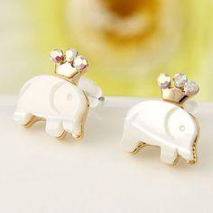 Cheap Cute Crown Elephant Swan Animal Stud Earrings For Big Sale! Cute Crown Elephant or Swan Animal Stud Earrings, made of alloy, opal and crystal, very shiny color. Elephant Earrings, Animal Earrings, Feather Earrings, Vintage Earrings, Women's Earrings, Silver Earrings, Silver Ring, Silver Jewelry, Crystal Fashion
