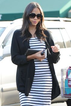 Zoe Saldana's Casual Maternity Style - love the casual striped knit dress layered with a long cardigan!
