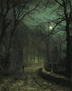 John Atkinson Grimshaw, A Yorkshire Lane in November, 1873, Private Collection, o il on canvas