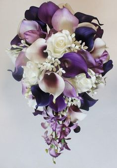 Cascading Wedding Calla Lily Bouquet Purple Bouquet Bridal Bouquet Real Touch Purple Calla Lily Bridal Bouquet Wedding Bouquets – Wedding For My Life Calla Lily Bridal Bouquet, Calla Lily Boutonniere, Purple Wedding Bouquets, Flower Bouquet Wedding, Cascading Wedding Bouquets, Wedding Ideas Purple, Purple Wedding Cakes, Flower Bouquets, Purple Orchid Wedding