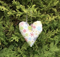 Excited to share this item from my #etsy shop: Fabric heart decoration, snowflake fabric, Christmas heart, hand made xmas ornament, xmas tree decoration, hanging heart, Xmas Tree Decorations, Christmas Hearts, Heart Garland, Hanging Hearts, Xmas Ornaments, Snowflakes, Goodies, Sew, Etsy Shop