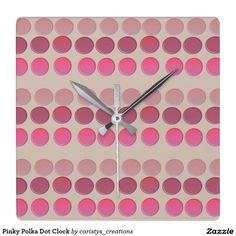 Shop Pinky Polka Dot Clock created by caristys_creations. Clock For Kids, Nursery Room, Kids Rooms, Clocks, Polka Dots, Vibrant, Collections, Lighting, Inspiration