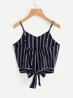 7d01de783c218 Shop Striped Split Tie Back Crop Cami Top online. SheIn offers Striped  Split Tie Back Crop Cami Top   more to fit your fashionable needs.