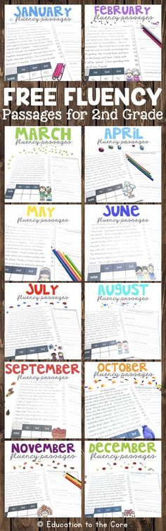 Second Fluency Passages Sampler! Get one fluency passage and one comprehension question sheet for each month! These are great for guided reading, literacy centers, fluency stations, interventions, homework, and/or morning work. They also include social st