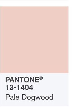 the spring 2017 Color Palette: PANTONE 13-1404 Pale Dogwood Continuing the tranquil mood, Pale Dogwood is a quiet and peaceful pink shade that engenders an aura of innocence and purity. The unobtrusive Pale Dogwood is a subtle pink whose soft touch infuses a healthy glow.