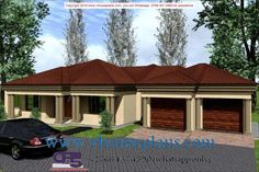 Overall Dimensions- x mBathrooms- 3 Car GarageArea- Square meters Round House Plans, Tuscan House Plans, Free House Plans, House Plans With Photos, Best House Plans, Building Costs, Building Plans, Flat Roof House Designs, Single Storey House Plans