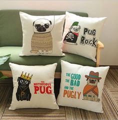 Funny Pug Collection Pillow Case - D