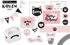INSTANT DOWNLOAD Kitty Cat Birthday Party Printable Package This listing contains a US letter (8.5 x 11 inches) size PDF file with 23 pages of a printable collection for Kitty Cat birthday party decorations. You can personalize any item listed as editable at home using Adobe Reader, to print at home, or at a print shop. Please keep in mind that no printed material will be shipped. THIS KITTY CAT PARTY PRINTABLE PACKAGE INCLUDES…