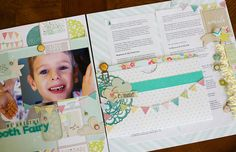 We Are the Tooth Fairy (full spread) by Noell, via Flickr...wonderful scrapbooking alternative ideas
