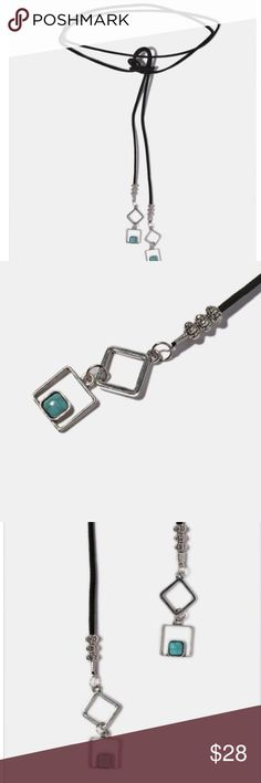 COMINGSOON 💕 Turquoise Stone Wrap Choker Take your style game up a notch with this super trendy and cool faux suede wrap choker featuring metal squares and square turquoise stones on the ends. A stylish, boho-chic finishing touch to your look! 💕 NWOT Boutique Jewelry Necklaces